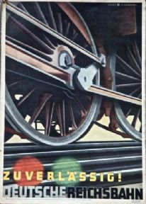 Vintage German railway poster - Reliable ! German Reichsbahn